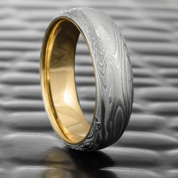 Domed 7mm Damascus Steel Wedding Band with 14K Yellow Gold Liner  |  TIDEPOOLS