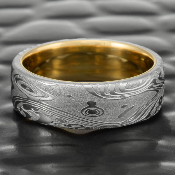 Damascus Steel Flat 7mm Wedding Band with 18K Yellow Gold Liner  |  TIDEPOOLS