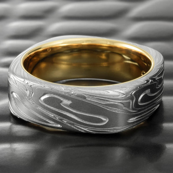 Men's Hand Crafted Damascus Steel Square Ring with 14k Yellow Gold Liner  |  TWISTED BURL