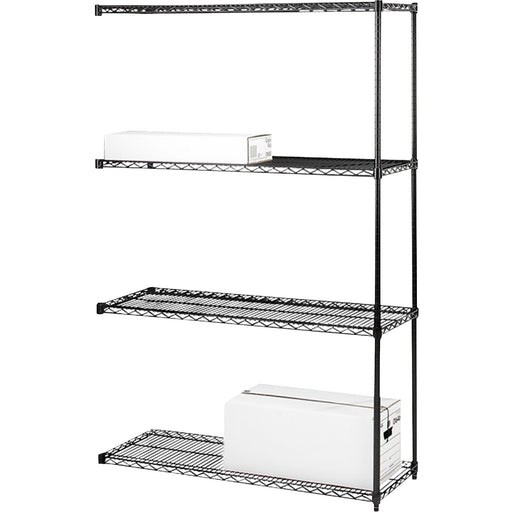 Lorell 4-Tier Industrial Wire Shelving Add-On-Unit