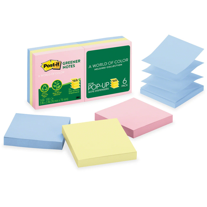 "Post-it® Greener Pop-up Notes, 3""x 3"", Helsinki Collection"
