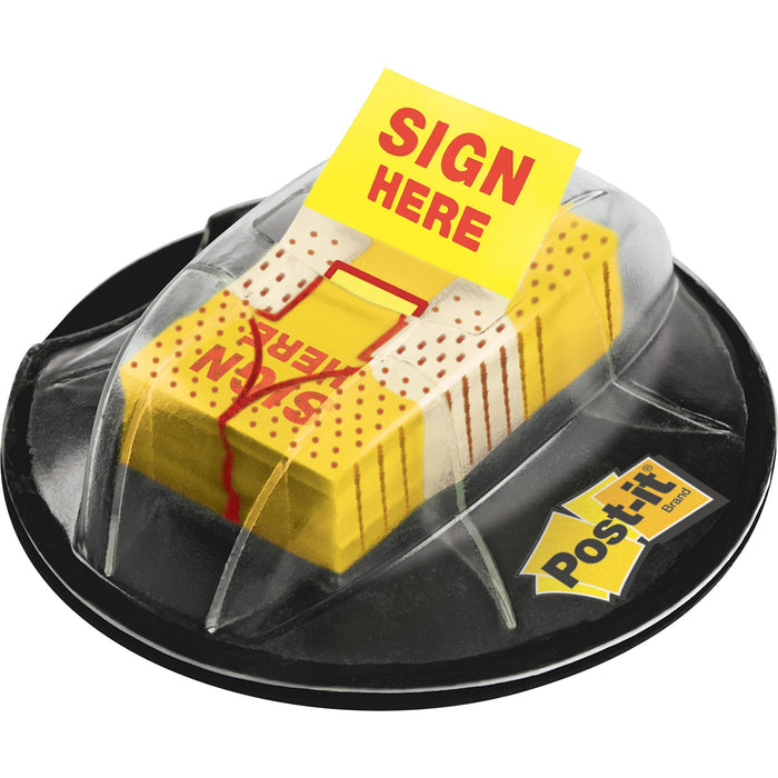 "Post-it® 1""W Sign Here Flags in Desk Grip Dispenser"