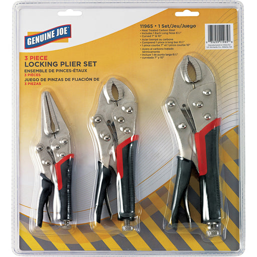 Genuine Joe 3 Piece Locking Plier Set