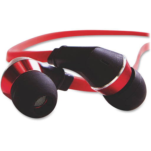 Tangle-Free Earphones - Red/Black