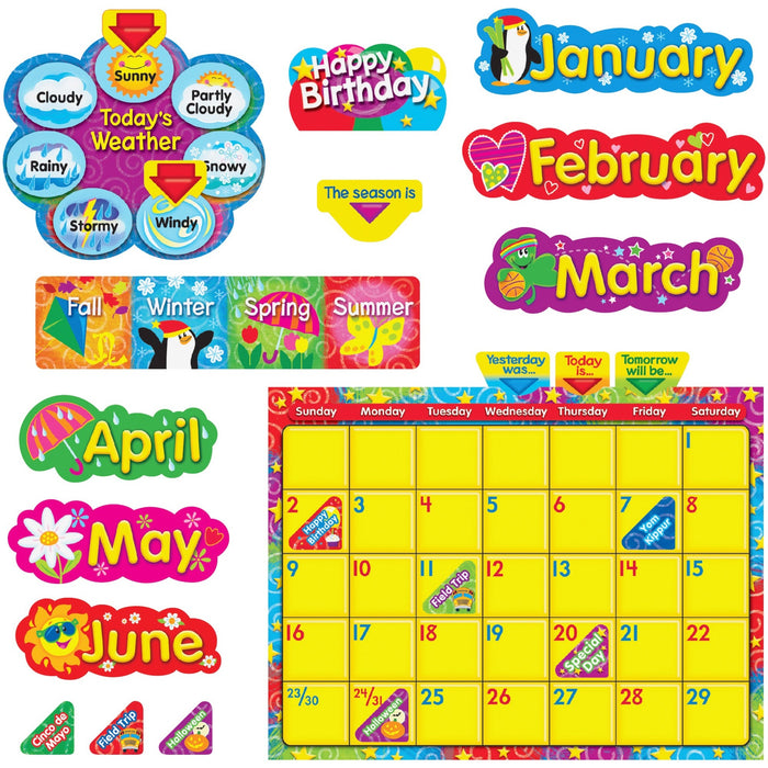 Trend WipeOff Stars/Swirls Calendar Bulletin Board Set
