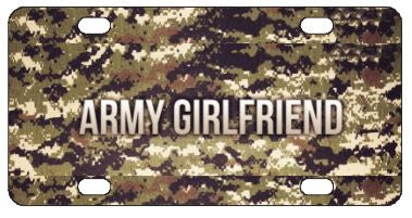 Army Girlfriend Camo License Plate
