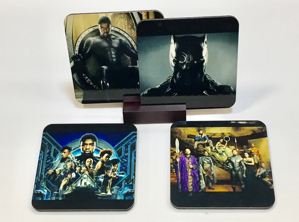 Black Panther Coasters - Set of 4 (with Mahogany Display Stand)