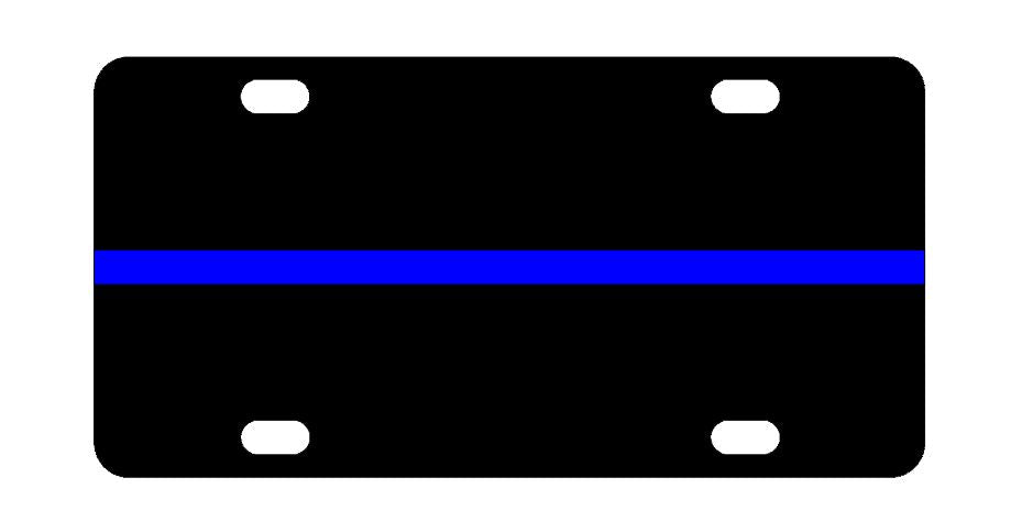Police Blue Line License Plate