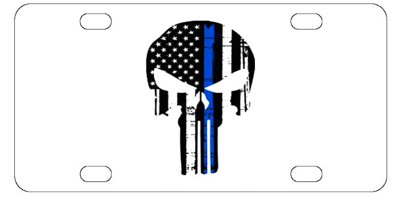 Police Blue Line Punisher License Plate