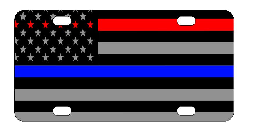 Police & Firefighter Red & Blue Line License Plate