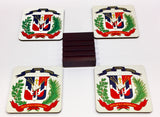 Dominican Republic Coasters - Set of 4 (with Mahogany Display Stand)