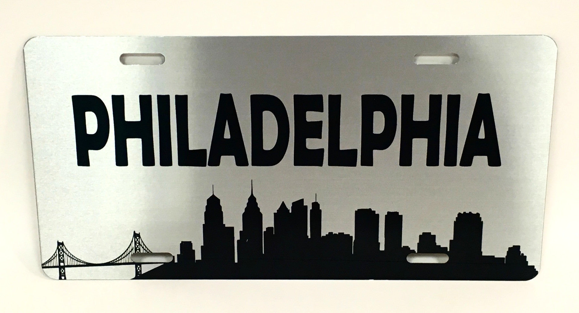 Philadelphia Skyline Silver License Plate