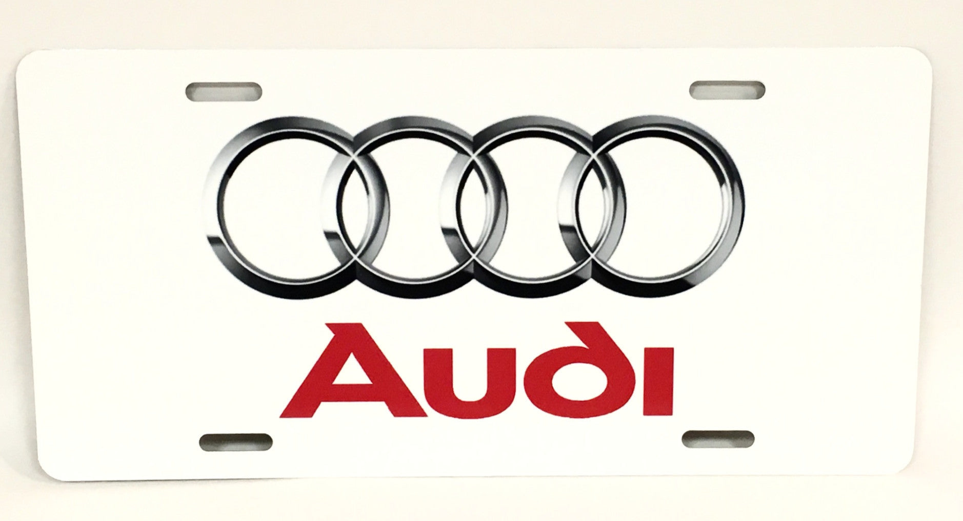 Audi Rings White License Plate