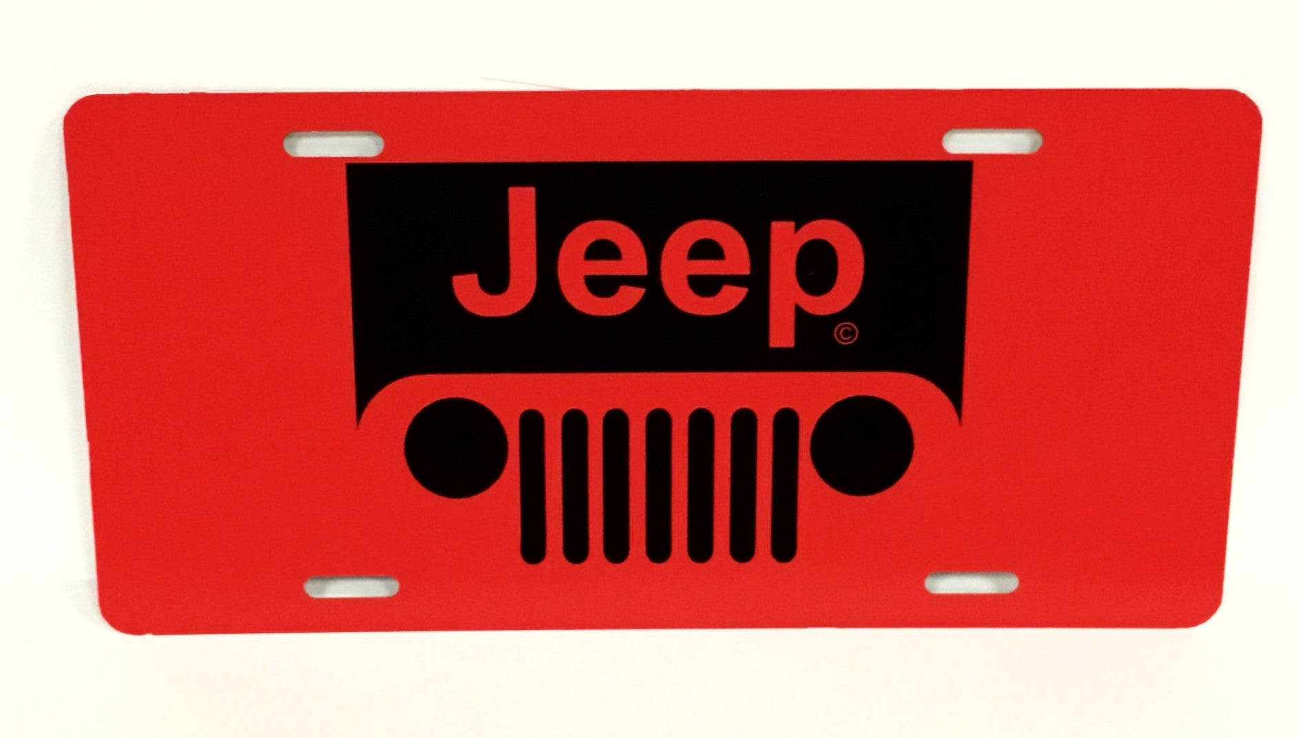 Jeep Logo Red License Plate