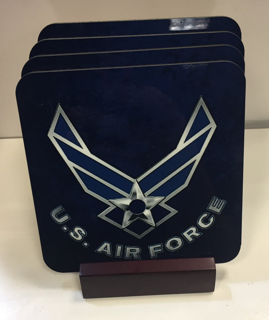 U. S. Airforce Coasters - Set of 4 (with Mahogany Display Stand)
