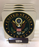 U. S. Army Coasters - Set of 4 (with Mahogany Display Stand)