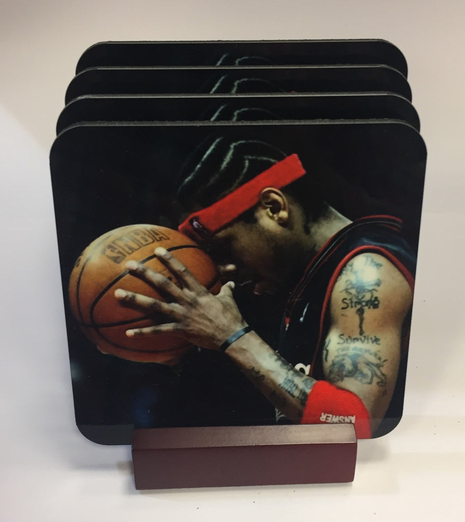 Allen Iverson Coasters - Set of 4 (with Mahogany Display Stand)