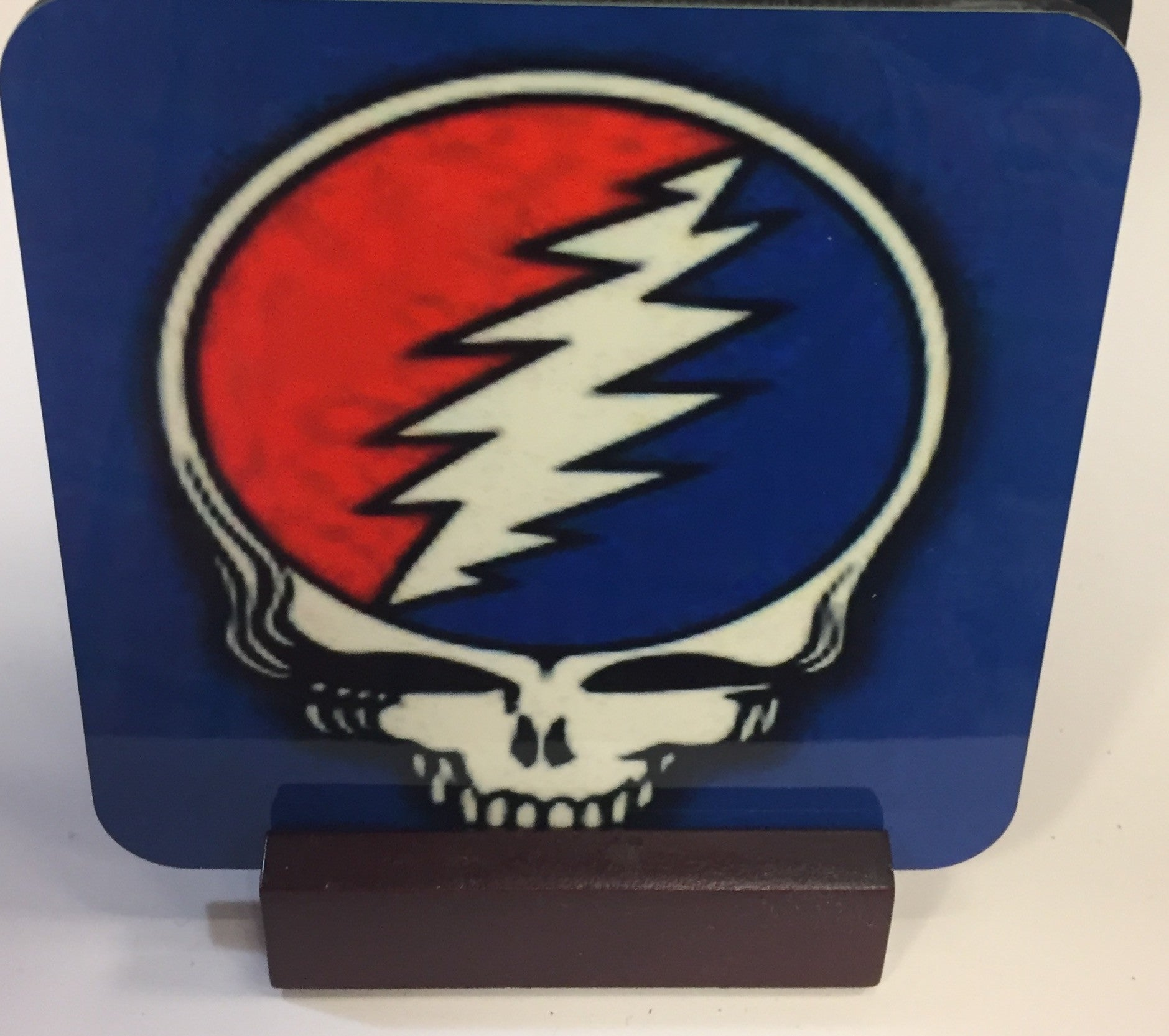 Grateful Dead Coasters - Set of 4 (with Mahogany Display Stand)