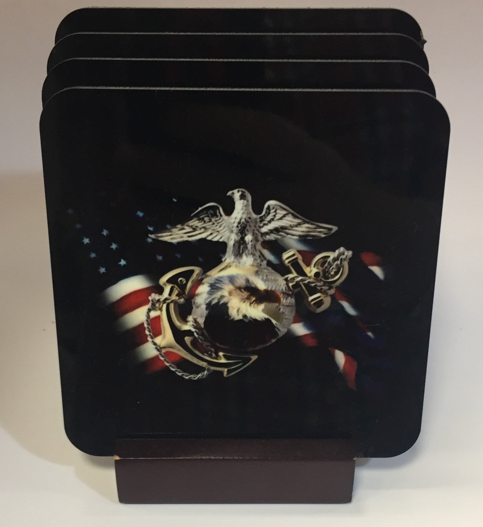 USMC - U.S. Marines Coasters - Set of 4 (with Mahogany Display Stand)