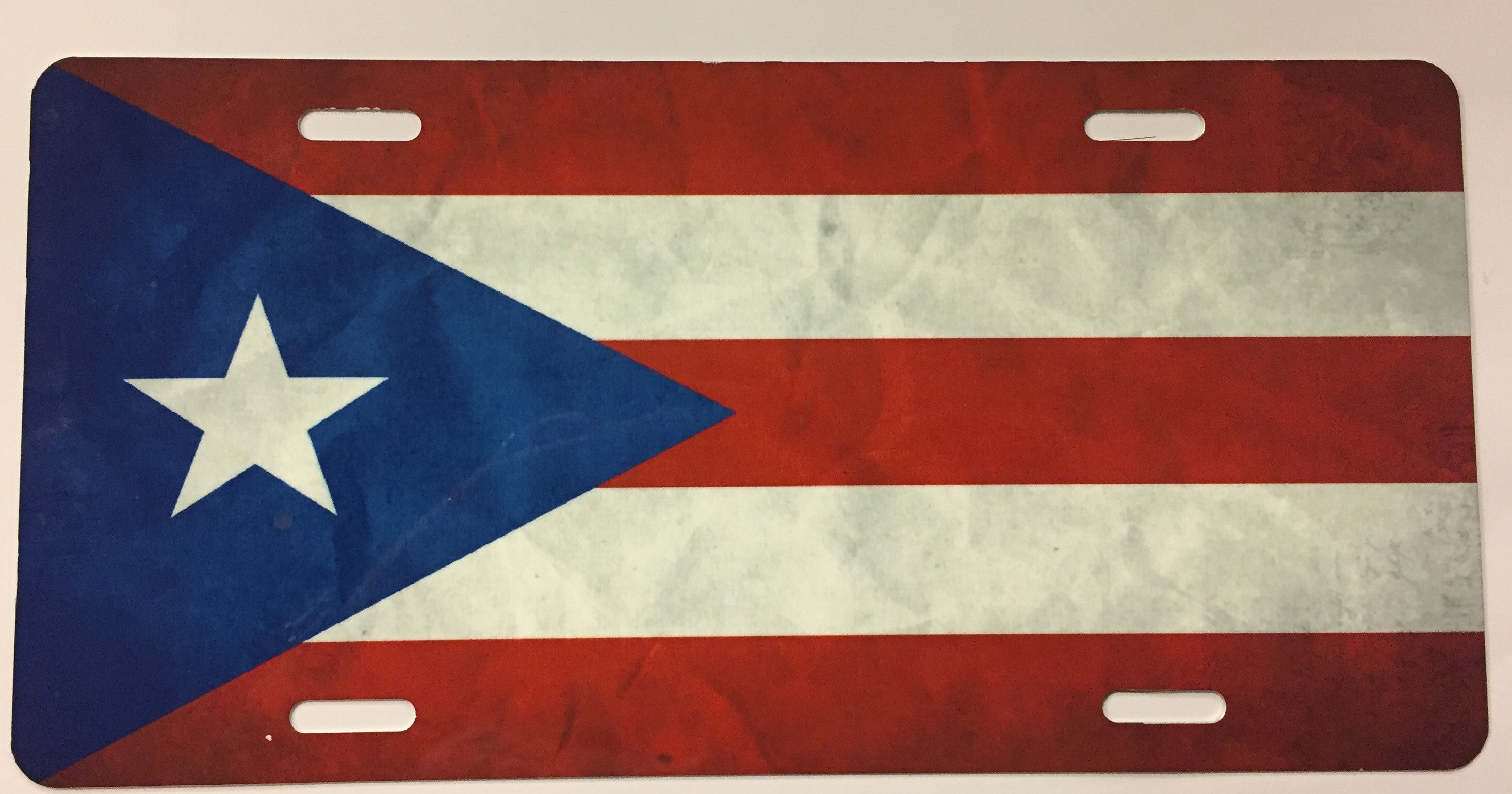 Puerto Rico Grunge Flag License Plate