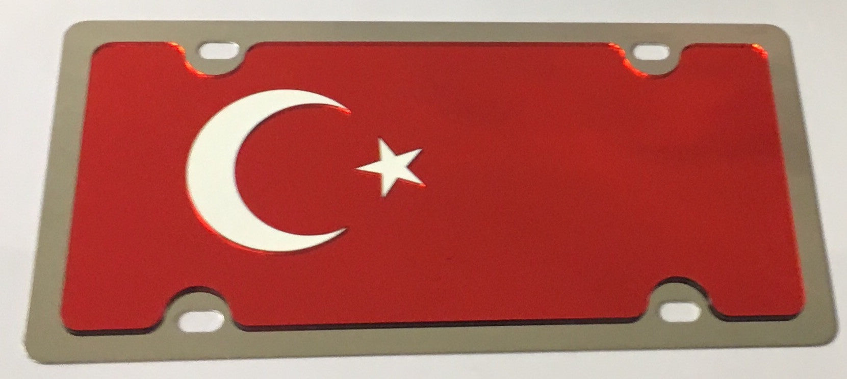 Turkey Flag Stainless Steel License Plate