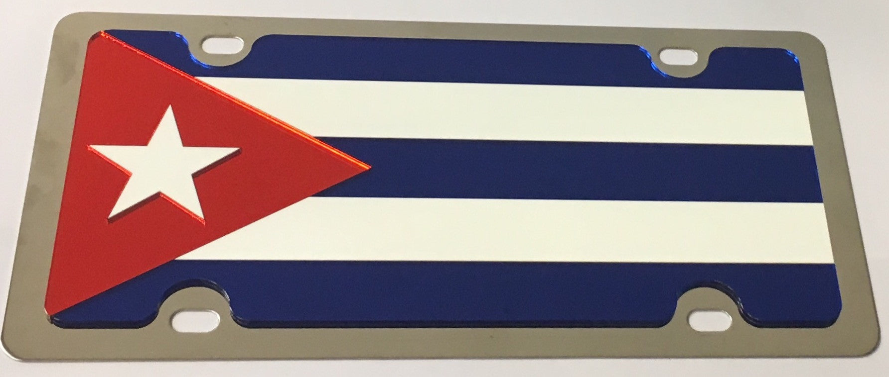 Cuba Flag Stainless Steel License Plate