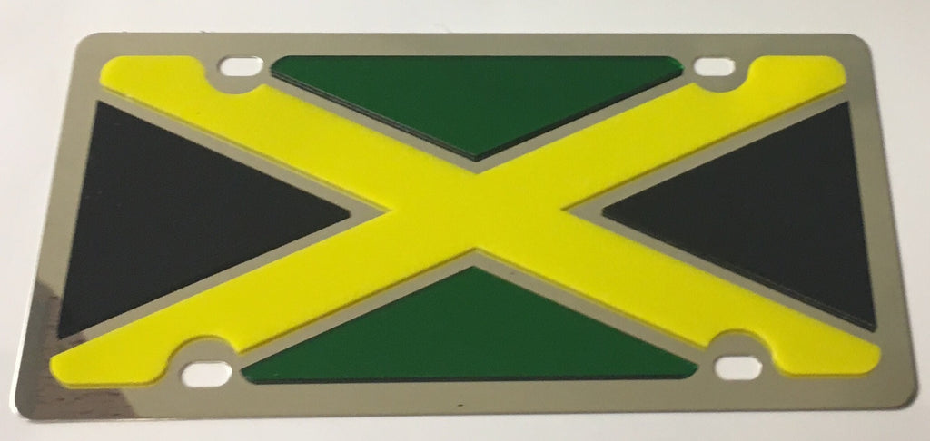 Jamaica Flag Stainless Steel License Plate