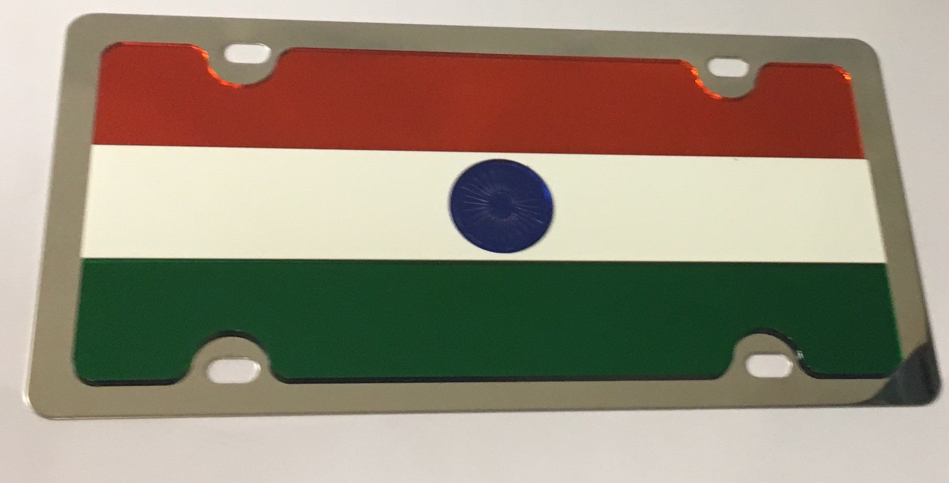 India Flag Stainless Steel License Plate