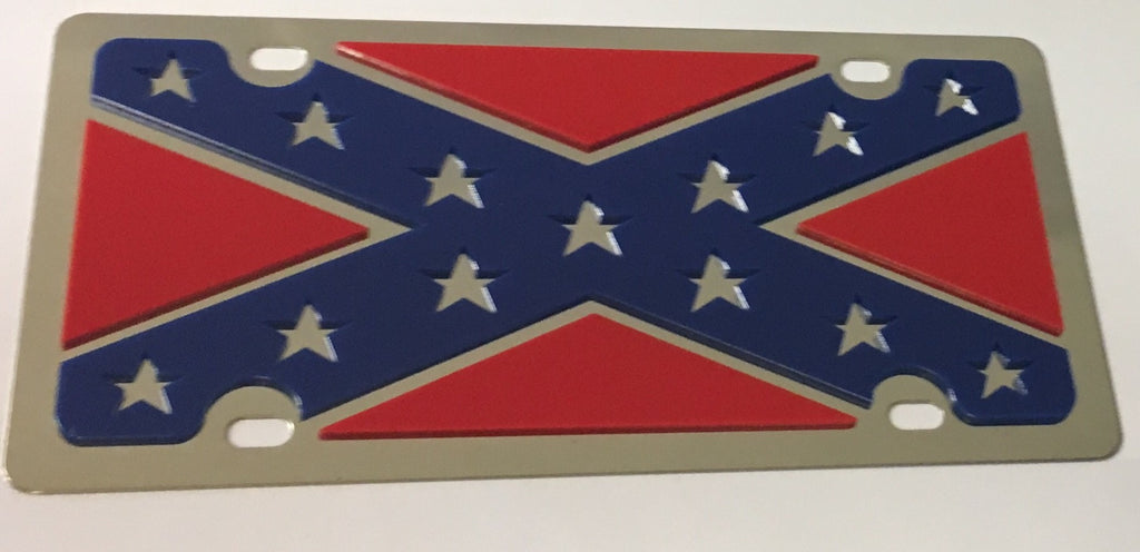 Confederate (Rebel) Flag Stainless Steel License Plate
