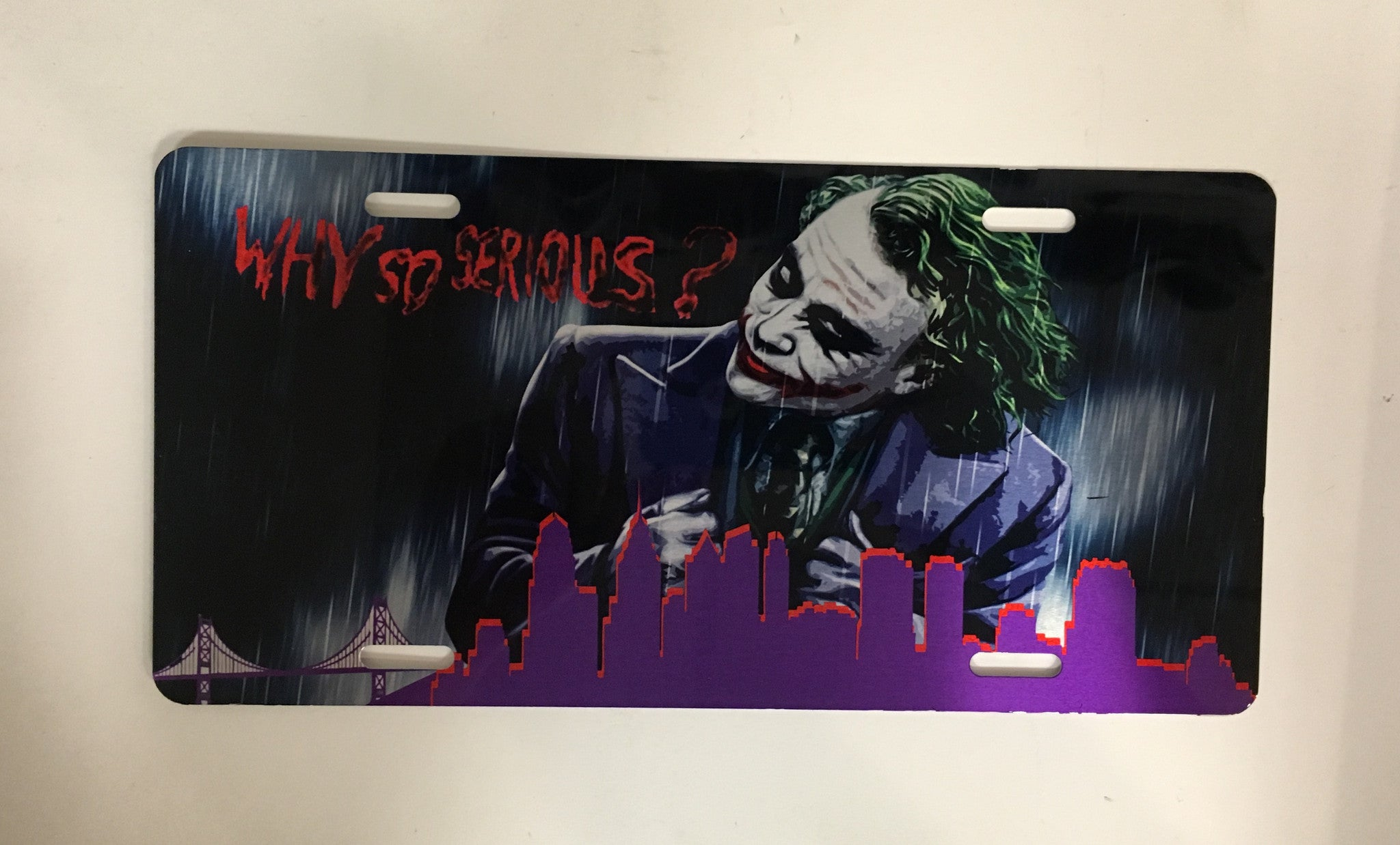"Joker ""Why So Serious?"" Philly Skyline License Plate"