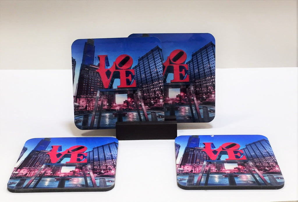 Love Park Coasters Philadelphia - Set of 4 (with Mahogany Display Stand)