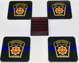 Pennsylvania State Police Trooper Coasters - Set of 4 (with Mahogany Display Stand)