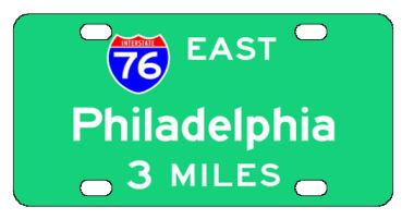 Philadelphia 76 East License Plate