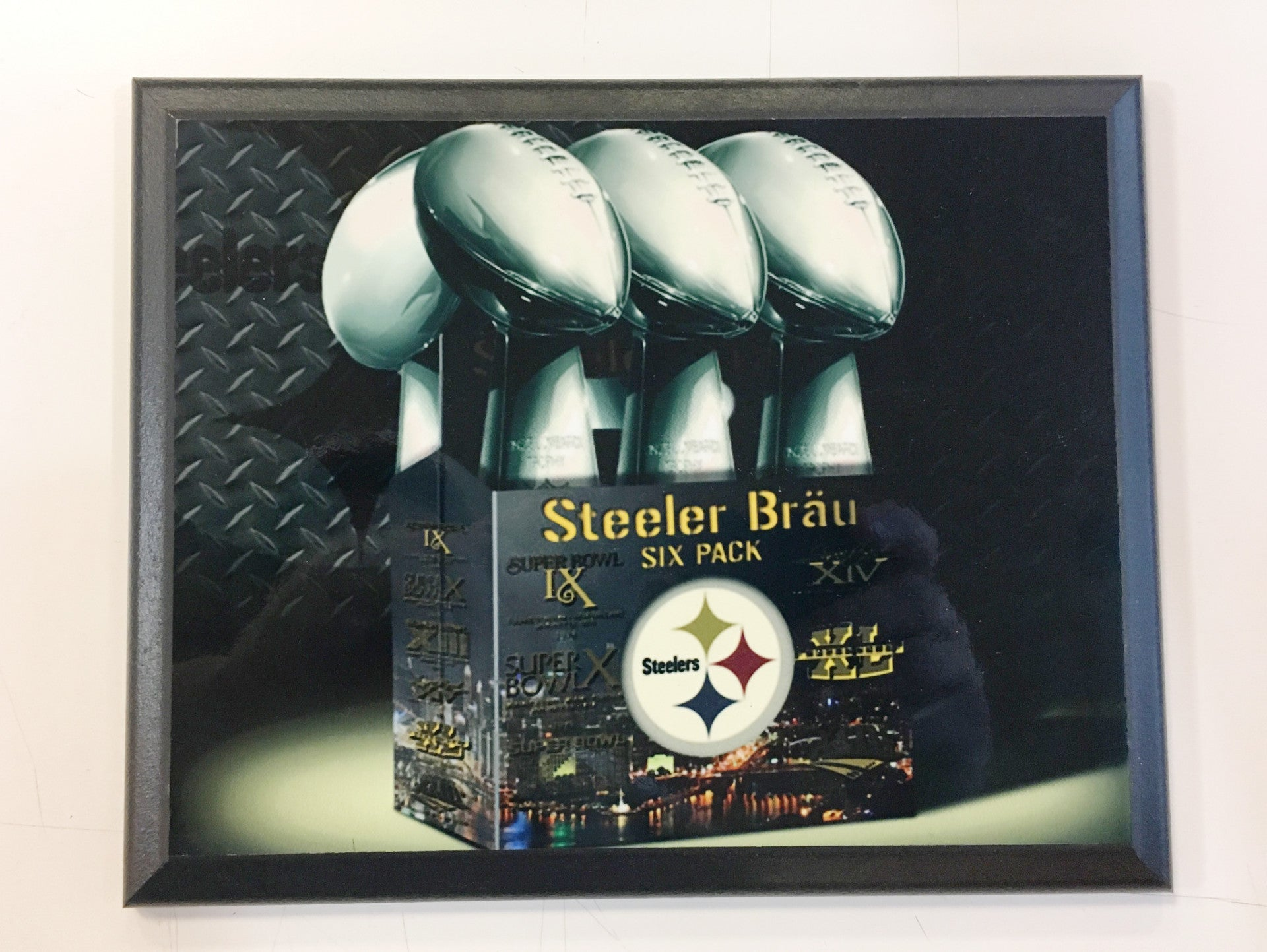 "Pittsburgh Steelers ""Steelers Brau"" 6-pack Champs Plaque"