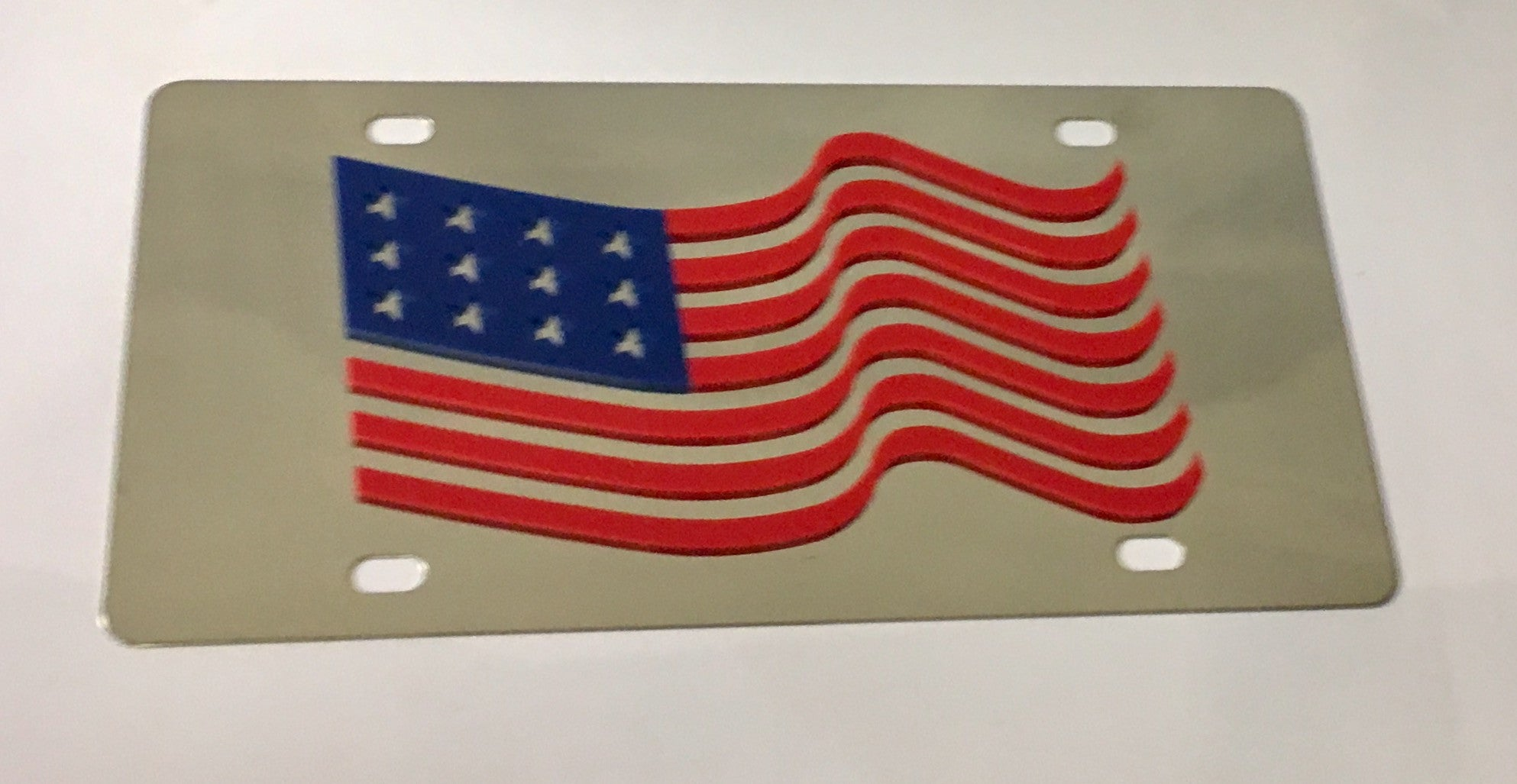 USA - American Flag Stainless Steel License Plate