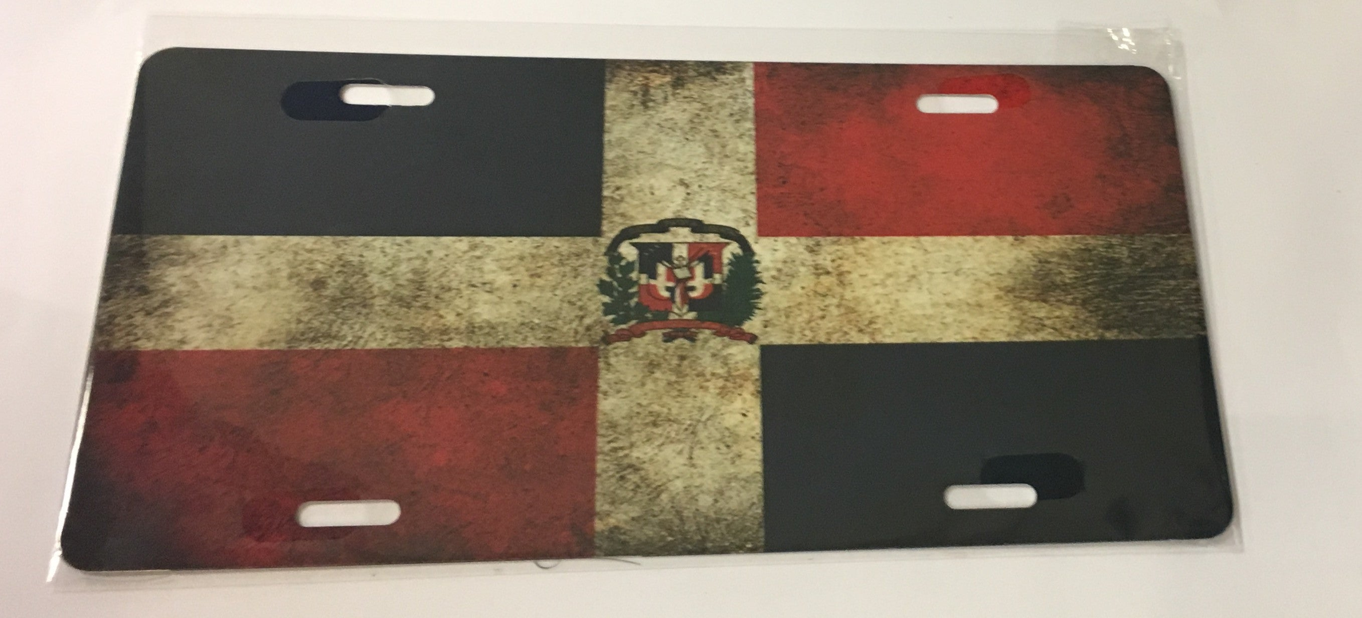 Dominican Republic Grunge Flag License Plate