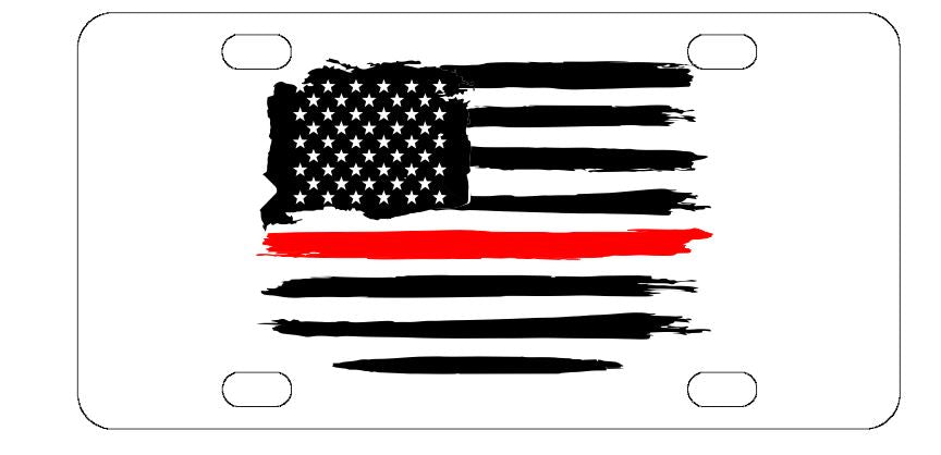 Firefighter Red Line License Plate