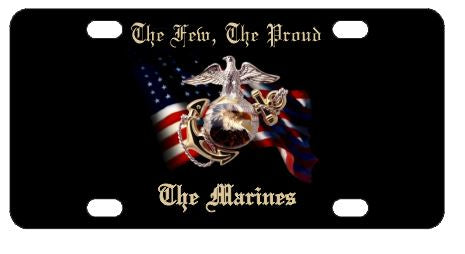 Marines USMC USA Flag License Plate