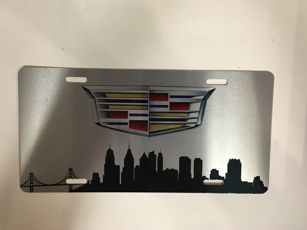 Cadillac Logo Philadelphia Skyline License Plate