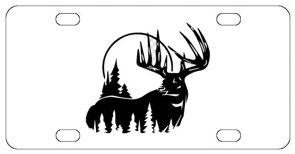 Deer Moon Hunting License Plate