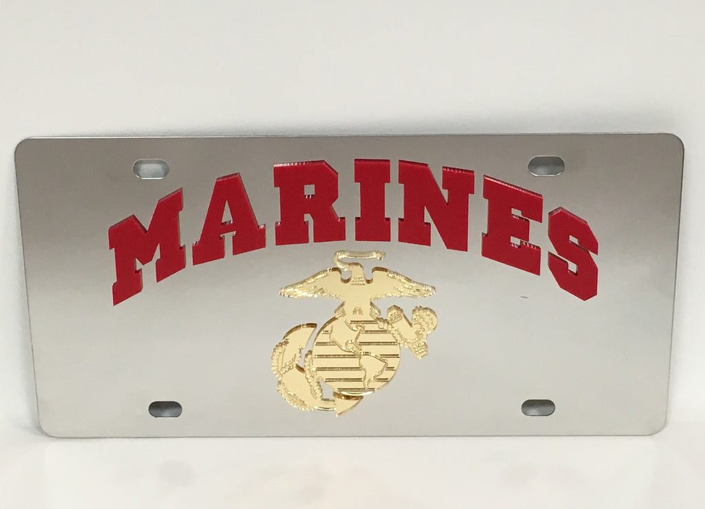 U.S. Marine Corps Logo Stainless Steel License Plate