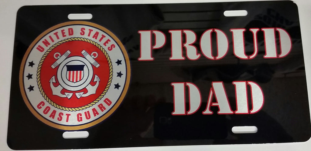 U.S. Coast Guard Proud Dad License Plate