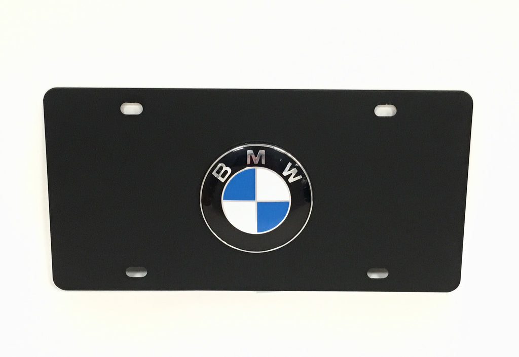 BMW Official Emblem Black Stainless Steel License Plate