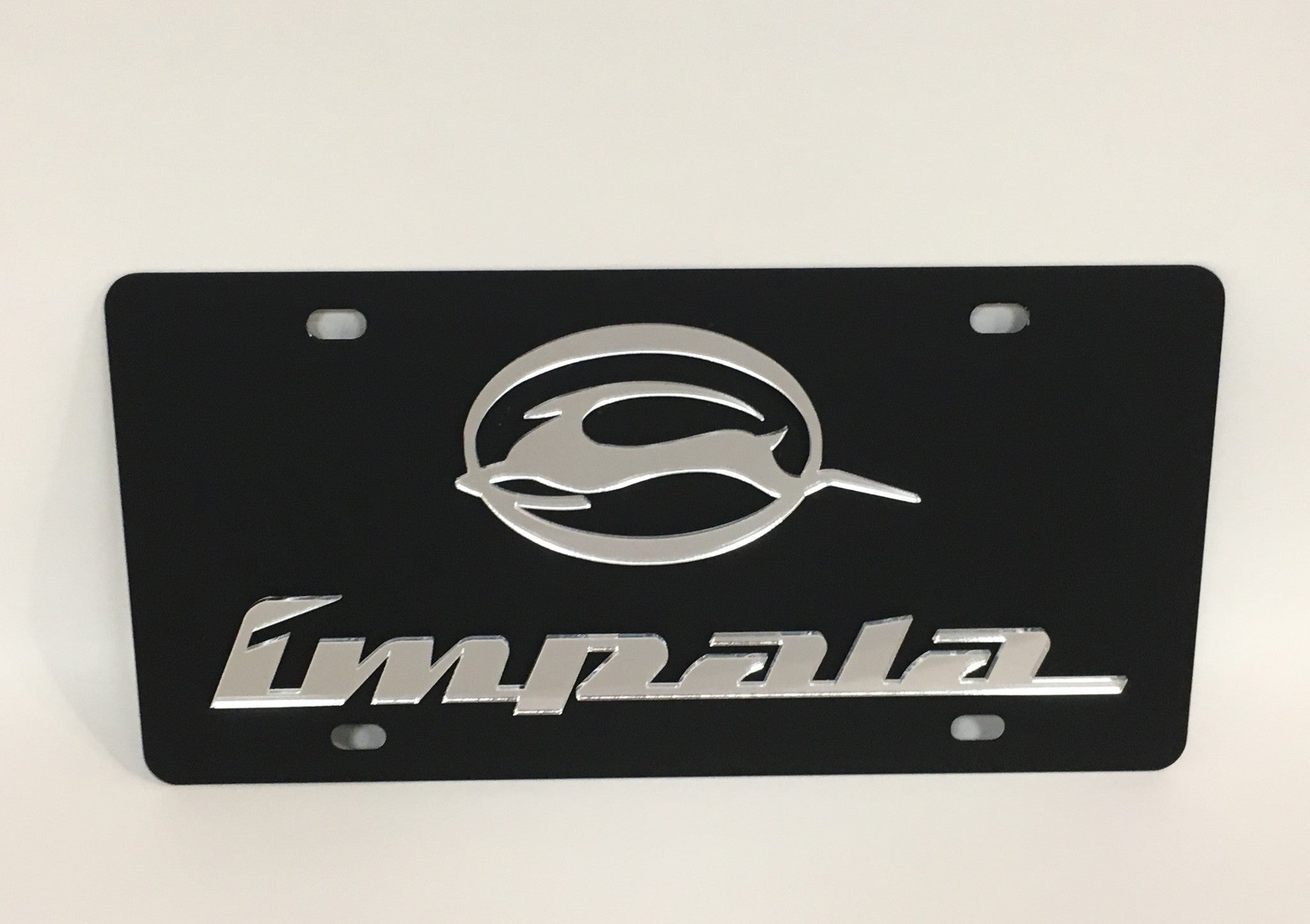 Chevy Impala Black Stainless Steel License Plate
