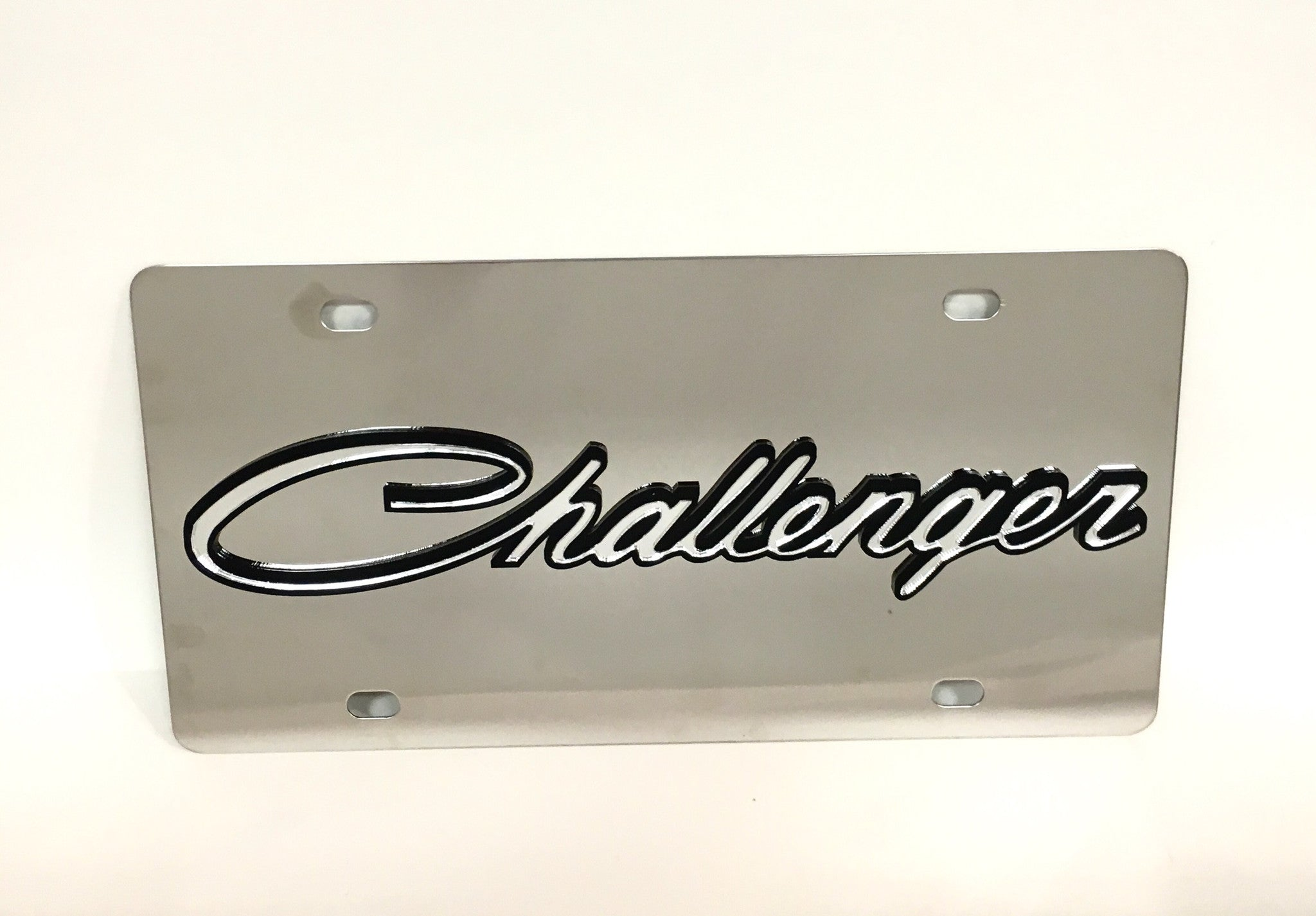 Dodge Challenger (cursive logo) Stainless Steel License Plate