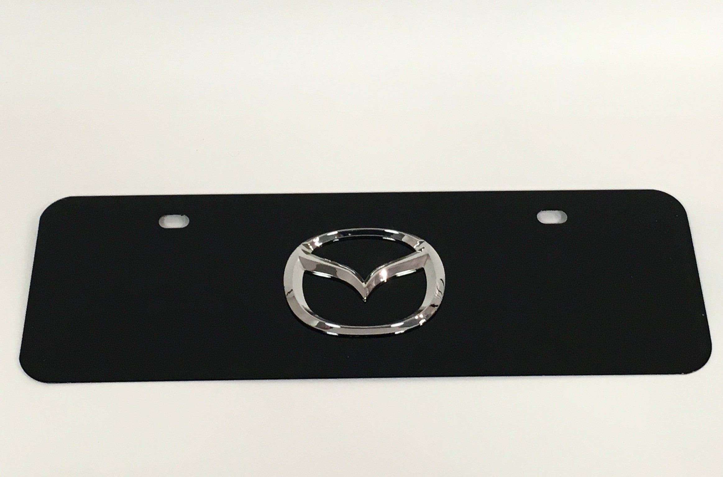 Mazda Official Emblem Black Stainless Steel Half-Sized License Plate
