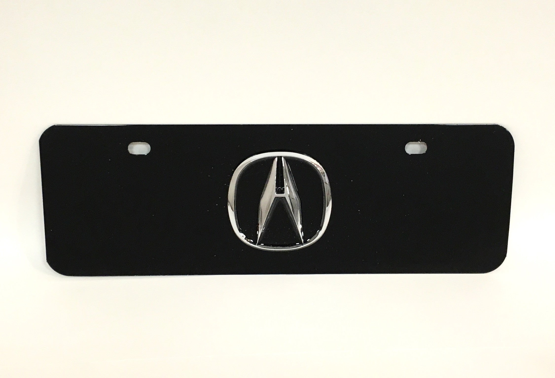 Acura Official Emblem Black Stainless Steel HalfSized License Plate - Acura emblem black