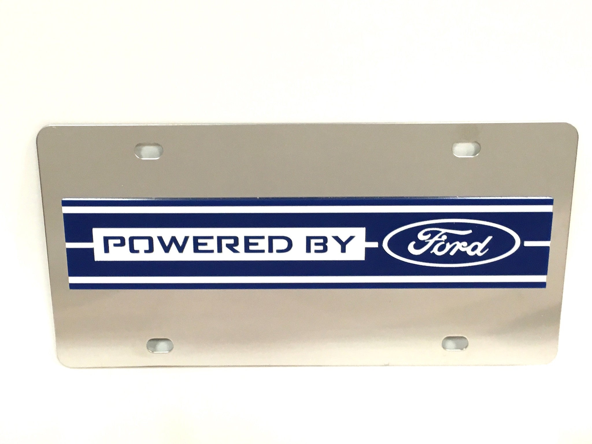 "Ford ""Powered by Ford"" Stainless Steel License Plate"