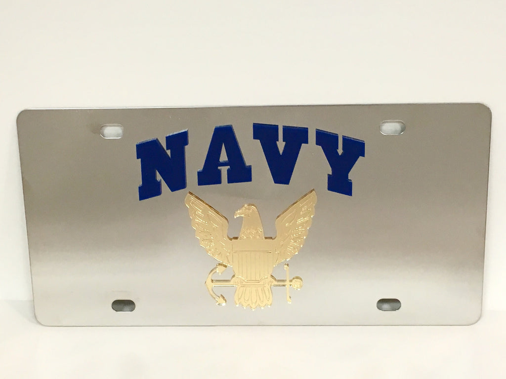 U.S. Navy Logo Stainless Steel License Plate