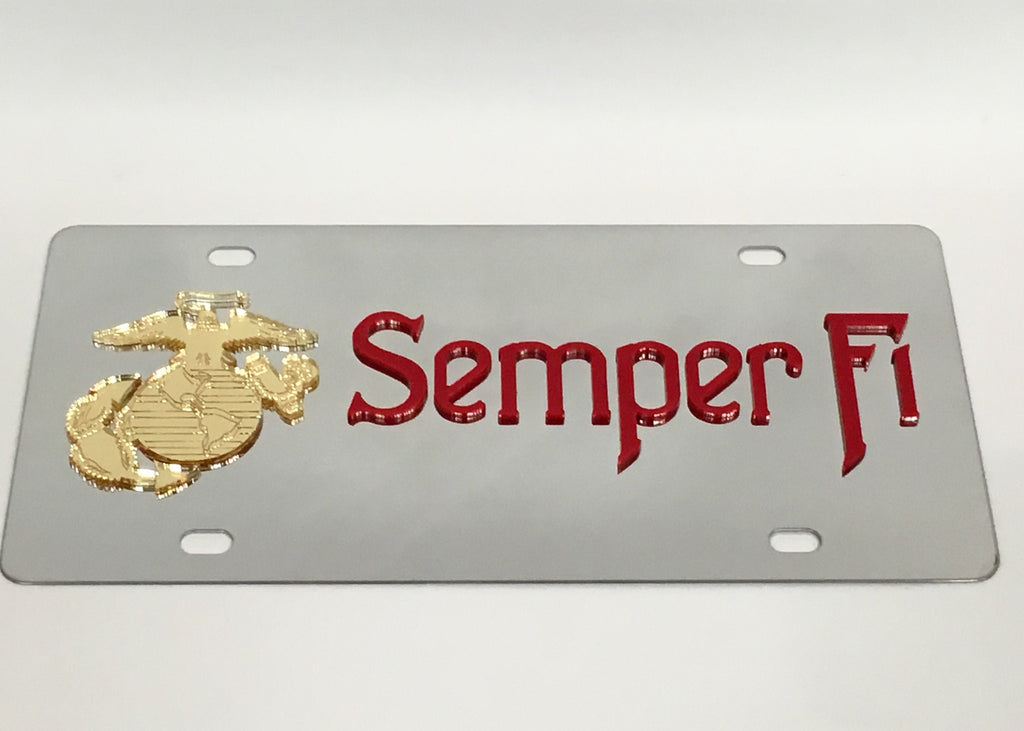 U.S. Marine Corps Semper Fi Stainless Steel License Plate